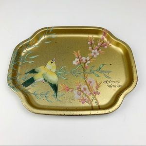 Vintage Mini Gold Painted Cherry Blossom Tray